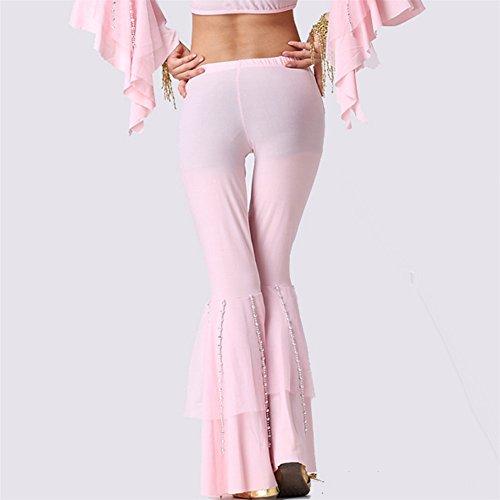 Donne Danza Pantaloni Danzawear Costume Bell bottomed Pantalonis with perlina Monete Light Pink