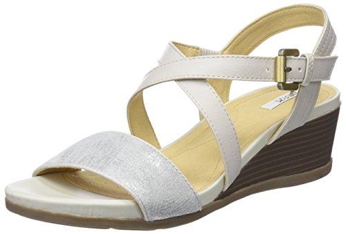 Geox d marykarmen a, sandali con zeppa donna, bianco (off white), 36 eu
