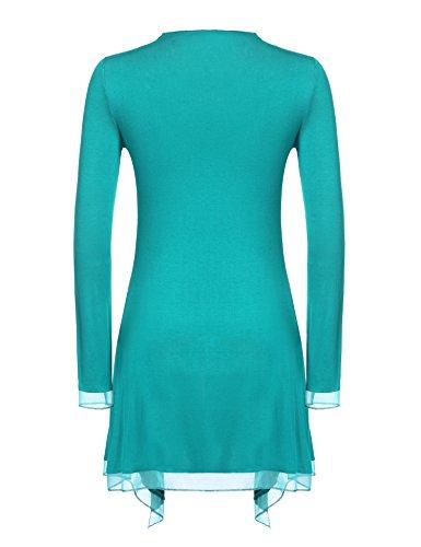 Meaneor Damen Strickjacke Casual Cardigan Jacke Asymmetrisch Offener V-Ausschnitt Longshirt Mit Chiffonabschlüssen Oberteil Übergröße Grün