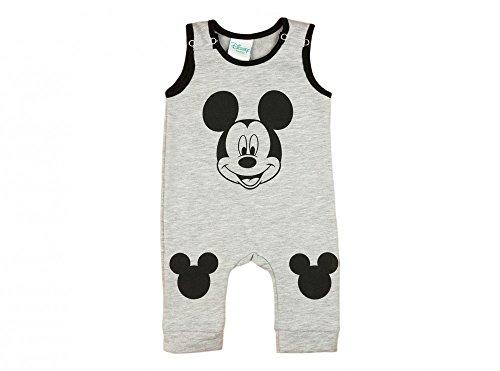 Jungen BABY-STRAMPLER GEFÜTTERT von Mickey Mouse in GRÖSSE 74, 80, 86, 92, 98 in Blau oder Grau, Wanzi, Baby-Schlafanzug ÄRMEL-LOS, Druck-Knöpfe, Spiel-Anzug, EINTEILER-OVERALL Color Grau, Size 92 (Knöpfe Anzug Ärmel)
