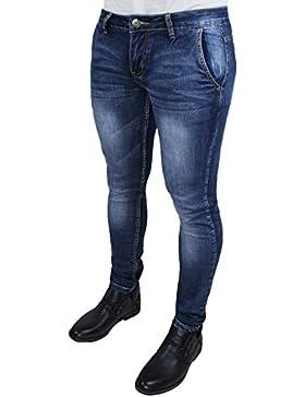 Jeans uomo pantaloni slim fit aderenti blu denim casual