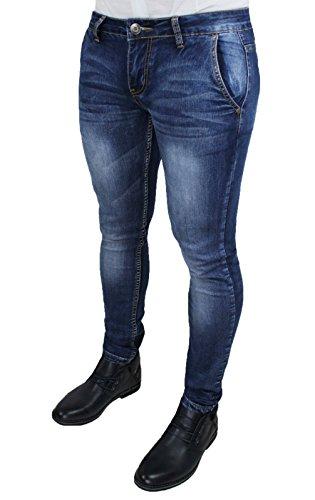 Mat sartoriale jeans uomo pantaloni slim fit aderenti blu denim casual (48)
