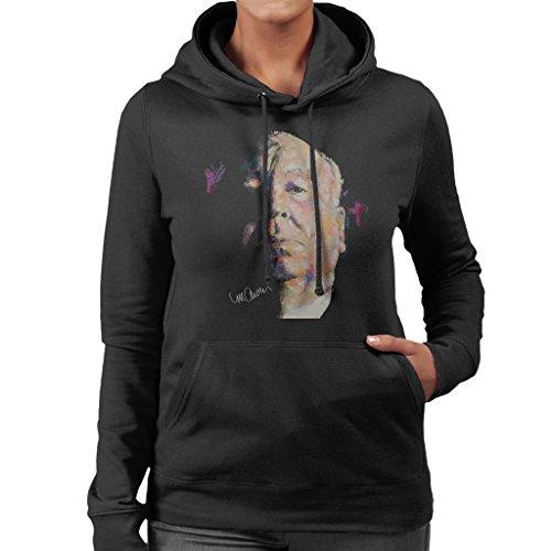 Sidney Maurer Alfred Hitchcock Portrait Official Women's Hooded Sweatshirt Black