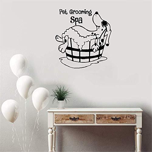 wandaufkleber 3d Hund mit Sonnenbrille Genießen Sie Spa Funny Pet Grooming Shop Zitat Kinderzimmer Badezimmer Declas