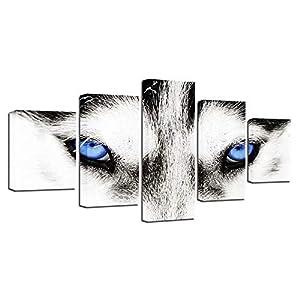 BESTYAN Leinwand Wand Kunst Husky Hund mit blauen Augen Bild Tierplakat für Wohnzimmer Wanddekoration Home Decoration 5…