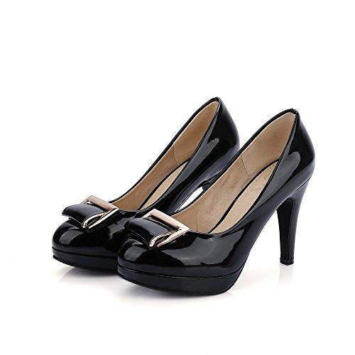 AllhqFashion Damen Hoher Absatz Lackleder Eingelegt Ziehen Auf Rund Zehe Pumps Schuhe Schwarz