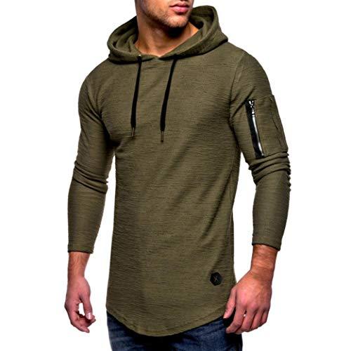 Maglia a maniche lunghe da uomo,sonnena t-shirt manica lunga da uomo t-shirt con cuciture a girocollo a righe top casual da uomo con cerniera blusa pieghevole tinta unita (xl, verde militare*)