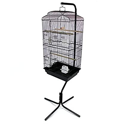 Easipet Large Metal Bird Cage with Stand Suitable For Multiple Birds (Black) 4