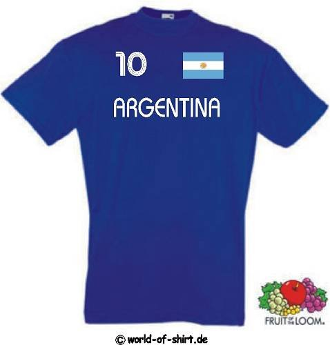 world-of-shirt Herren T-Shirt Argentinien im Trikot Look 1-