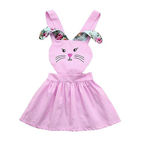 (UFODB Träderkleid Mädchen, Toddler Kids Baby Girl Sommer Lange Ohren Kaninchen Blume Party Princess Dress Kinder ärmellos Knielang Sommerkleider)