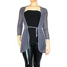Jygles Tüll Transparent Bolerojäckchen Jacke 3/4 langer Ärmel Bolero Asymmetrisch