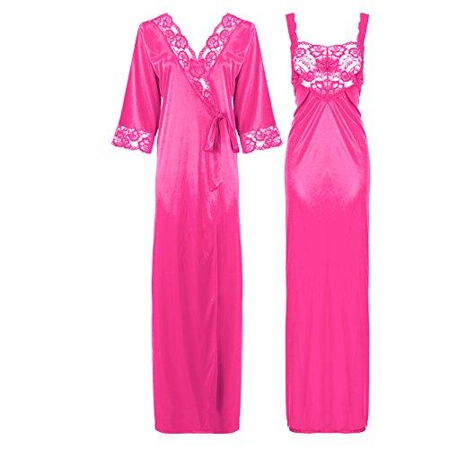 The Orange tags, camicia da notte di raso e pizzo lunga da donna, dettagliata 38-50 Rose