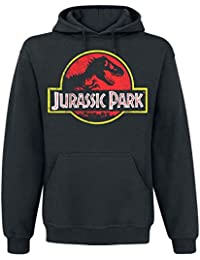 Jurassic Park Distressed Logo Hombre Sudadera con Capucha Negro