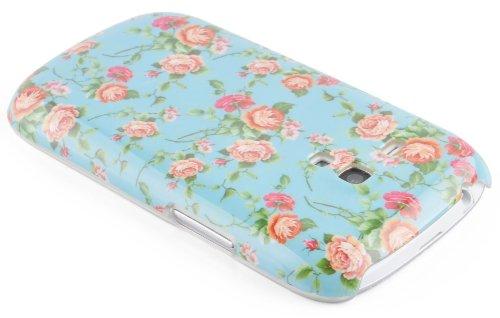 JAMMYLIZARD | Custodia Vintage Cover Retrò per iPhone 4 e 4S CUPCAKES Floreale Blu