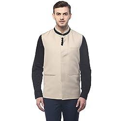 Veera Paridhaan Mens Solid Beige Colour Nehru Jacket