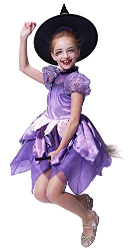 Klassische Mädchen Kostüm - IKALI Mädchen-Hexenkostüm mit klassischem Hut, Deluxe-Kostüm für Zauberin (4-6Jahre)