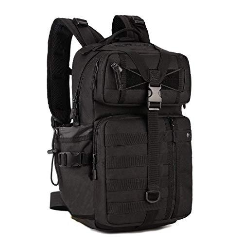 Louvra Zaino Tattico 30L Zaino Militare Molle Impermeabile per Trekking Campeggio Escursione Viaggio Nero Outdoor Backpack