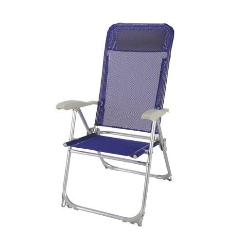Papillon 8044204 Chaise de Plage en Aluminium, 5 Positions, Bleu