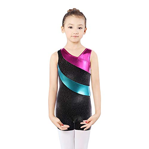 DoGeek Turnanzug für Mädchen Kinder Gymnastikanzug für Mädchen Ballettanzug Langarm Turnanzug Turnbody Mädchen Langarm Leotard Gymnastics(Referenzgrößentabelle) (Kurz-Grün, 9-10Jahre-XL)
