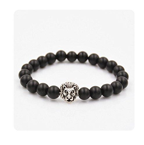 ILOVEDIY Schmuck, Lava-Armband Damen Herren Reiki-Energietherapie Armreif 8mm Lava Beads Buddha-Armband, Silbr Löwe-Kopf Stil