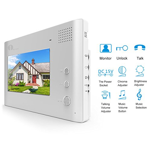 1byone 7-Inch Color Wired Video Doorphone 2 Wires Video Intercom System 1 Monitor with 1 Outdoor Camera