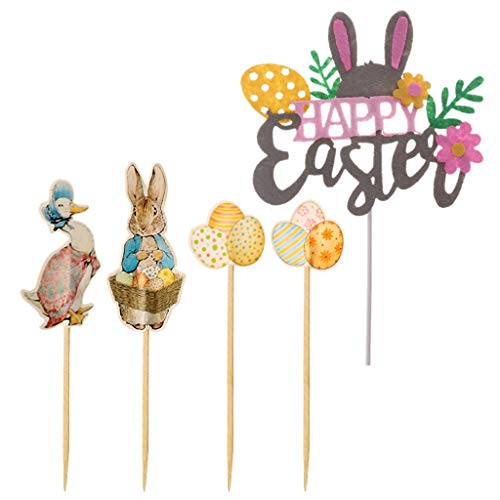 (Lisanl 25 Stück Lovely Happy Osterhase Kuchen Cupcake Toppers Duck Egg Rabbit and Flower Party Birthday Decor Kid 24 Stück Picks)