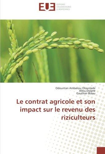 Le contrat agricole et son impact sur le revenu des riziculteurs par Odountan Ambaliou Olounlade