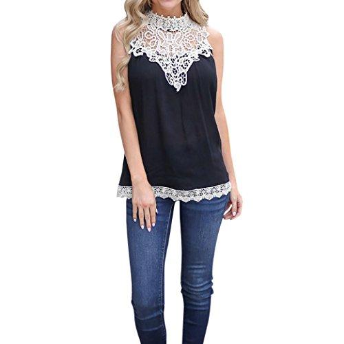 OSYARD Damen Solid ärmellose Spitze Tops Bluse T-Shirt T-Shirt Tank Tops(EU 48/2XL, Schwarz)
