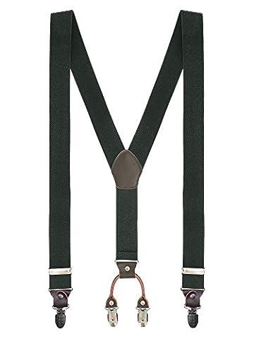 Herren Basic 4 Clips Y-Form Hosenträger Hochelastisch Längenverstellbar - 3,5*110cm für Körpergröße bis 180cm Einfarbig Armee (Grün Harz Kreuz)