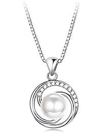 892d75545da5 Besteel Collar Plata de Ley Colgante de Perlas para Mujer Collar Elegante  con Circonita