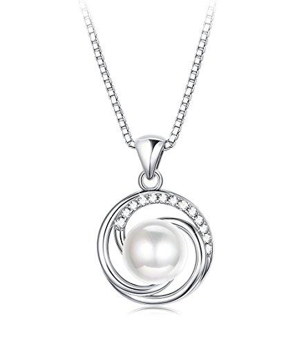 BE STEEL Sterling Silber Halskette Perle Anhänger für Frauen Elegante Halskette mit Zirkonia,Du Bist Mein Sonnenschein Liebe Geschenk für die Geburtstag