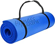 Fitness Mantra® Yoga Mat with Carrying Strap for Gym Workout and Yoga Exercise with 6mm Thickness, Anti-Slip Y