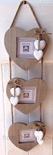 Windhorse - 3 cornici in legno da appendere a forma di cuore