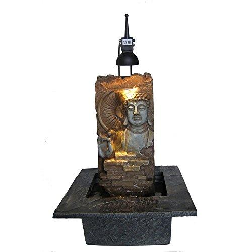 Zen Buda Luz fuente de pared SCF14 Interior oscuro marrón / negro 22 x 20 x 40 cm