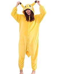 BOMOVO Pokemon Pijamas de una pieza con capucha para mujer - Pikachu