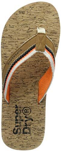 Superdry Herren ROLLER FLIP FLOP Zehentrenner,Mehrfarbig (Tan/Orange/Linear Cork W2u),44/45 EU