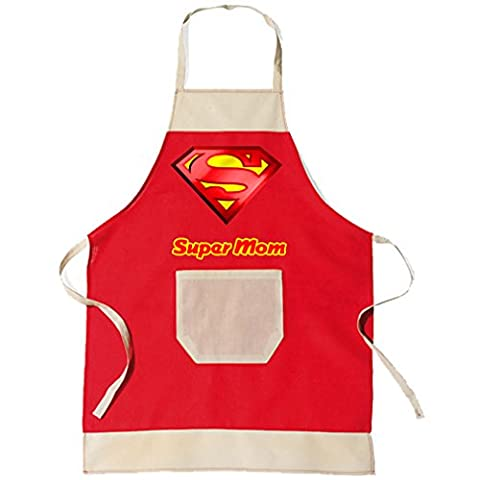 'BBQ Barbecue Apron & Kitchen Apron Red Super Mom Mother Gift by SHIRT-TO-GO