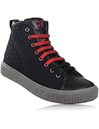 Ciao Bimbi Sneaker stringata nera in tessuto con motivo a rilievo e pelle 97af04407e4