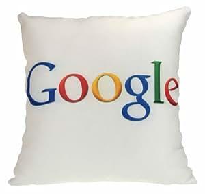 google, housses de coussin, rétro, geek, 43cm x 43cm, blanc