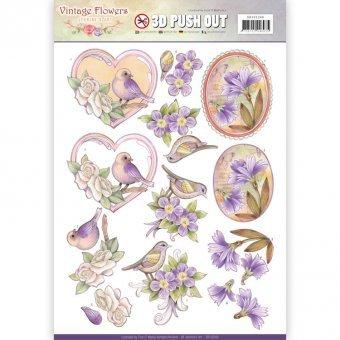 3D-Stanzbogen - Jeaninnes Art - Vintage Flowers - Blumen Violett