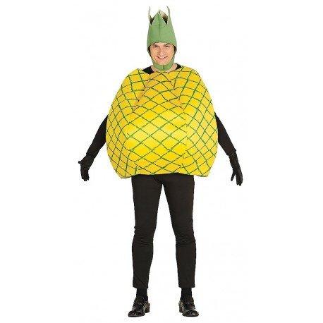 Riesen Ananas Karneval Fasching Party Kostüm für Erwachsene Damen Herren gelbes Veganer Obst Gr. M/L, Größe:L