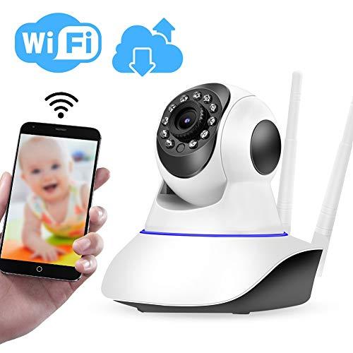 2MP 1080P WiFi PTZ Kamera, HD Dual Antennen Babyphone Camcorder, IR Nachtsichtgerät/WiFi Fernbedienung/Zwei Wege Gespräch/Cloud Speicher/Mobile APP Information Push(EU) - Dual-nachtsichtgerät