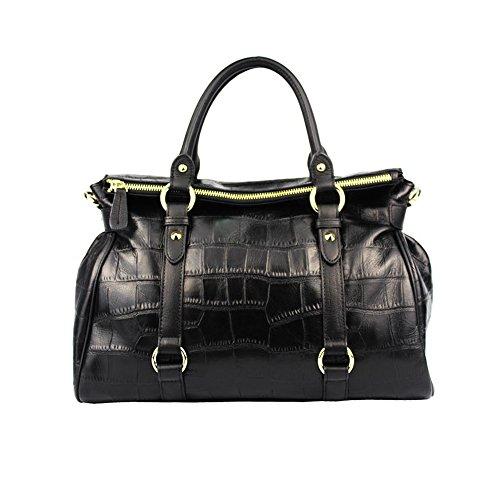 Preisvergleich Produktbild Sheli Damen Schwarz Große Croc Venen Vitello Leder Einkaufstaschen Handtaschen Tornistertaschen