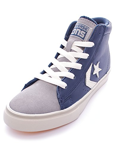 Converse Pro Leather Vulc Mid Leather/Suede mixte enfant, cuir lisse, sneaker high Dress Blue/Grey Dust
