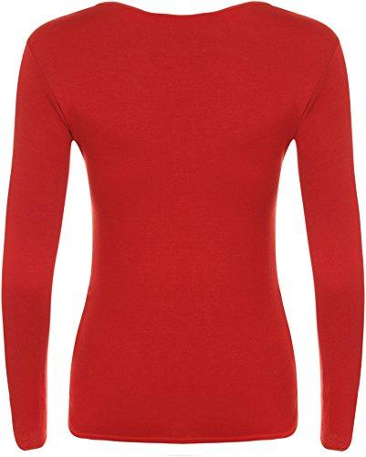 WearAll - Damen T-shirt langarm Top - 16 Farben - Größe 36-42 Rot