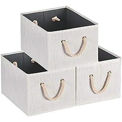 MaidMAX Casier Rangement, Cube de Rangement Tissu, Boite de Rangement Tissu, Tiroir Rangement, Panieres Rangement, avec Poignée en Corde de Coton, 36,5 x 25,4 x 21,4cm, Lot de 3, Beige