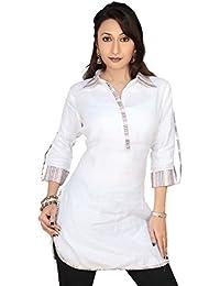 1545 Designs Mujer Más el tamaño de cuello blanco cuello de la blusa superior