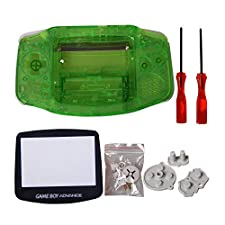 GBA Pantalla, eJiasu Full Parts carcasa de repuesto carcasa accesorios protector de pantalla lente parte cubierta de la caja para Nintendo Gameboy Advance GBA (1PC GBA Shell transparente verde con lente y destornillador)