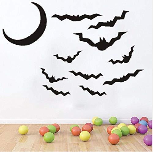 Wandtattoo Fledermaus Und Mond Halloween Party 89X59Cm Wandtatoo Wandsticker Wandaufkleber Wanddekoration Für Entfernbare Wohnzimmer Schlafzimmer Flur