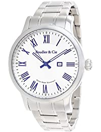 Boudier & Cie BSSM210 - Reloj de Cuarzo Analogico con movimiento Suizo para hombre, Esfera blanca, Correa plateada